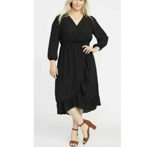OldNavy Waist Defined Georgette Dress Wrap Ruffle